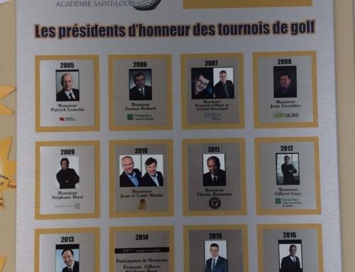 Tableau des présidents d'honneur du tournoi de golf de la Fondation